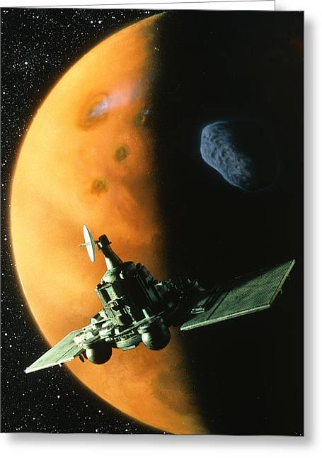 Phobos Greeting Cards - Artwork Of Phobos Spacecraft In Orbit Around Mars Greeting Card by Julian Baum