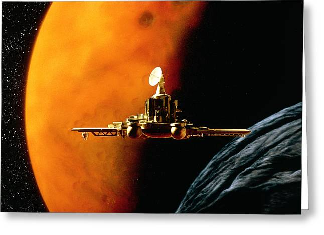 Phobos Greeting Cards - Artwork Of Phobos Spacecraft Nearing Phobos Greeting Card by Julian Baum