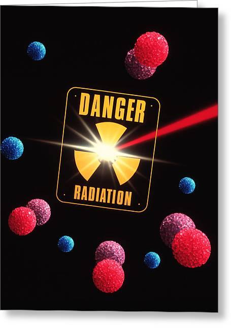 Radiation Greeting Cards - Artwork Of Radiation And Radiation Warning Sign Greeting Card by Tony Craddock