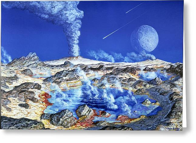 Primeval Greeting Cards - Artwork Of The Surface Of A Primeval Earth Greeting Card by Chris Butler