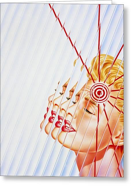 Headache Greeting Cards - Artwork Of Woman Suffering A Headache Or Migraine Greeting Card by John Bavosi