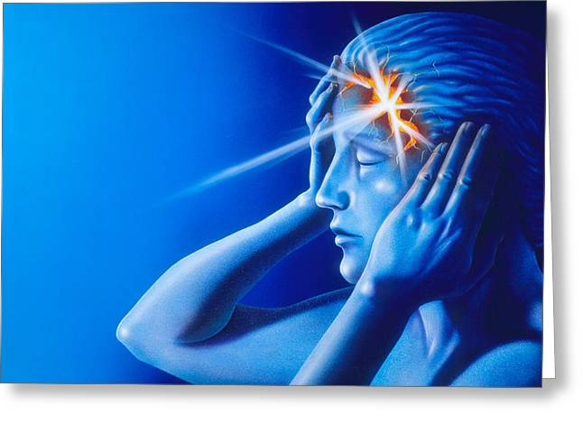 Headache Greeting Cards - Artwork Of Woman With Head Split Showing Headache Greeting Card by David Gifford