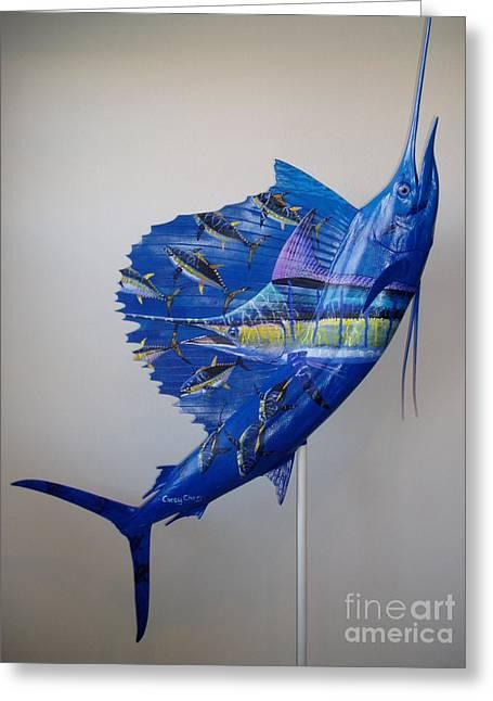 Artwork On Sailfish Greeting Card by Carey Chen