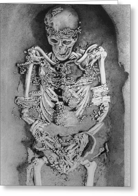 Palaeolithic Greeting Cards - Artwork: Palaeolithic Skeleton From Sunghir,russia Greeting Card by Ria Novosti
