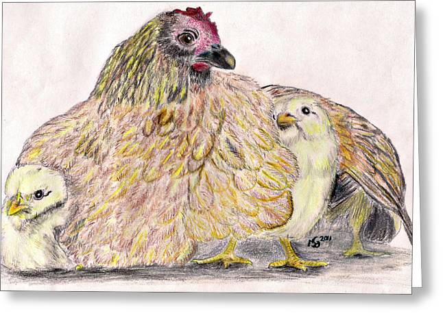Marqueta Graham Greeting Cards - As a Hen Gathereth Her Chickens Under Her Wings Greeting Card by Marqueta Graham