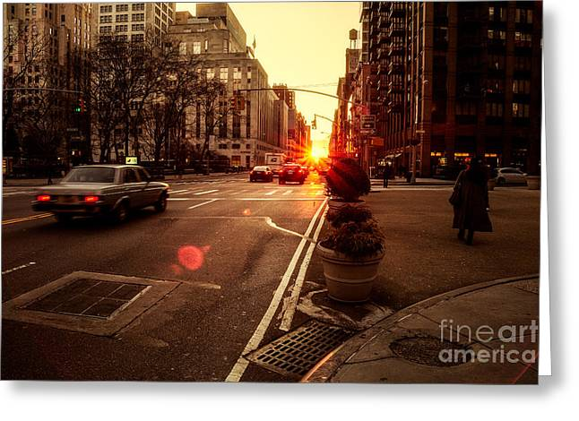 Nyc Winter Greeting Cards - As it does.. Greeting Card by John Farnan