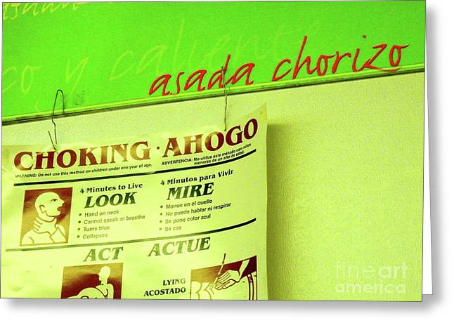 Corner Kitchen Greeting Cards - Asada Choke - izo Greeting Card by Joe Jake Pratt