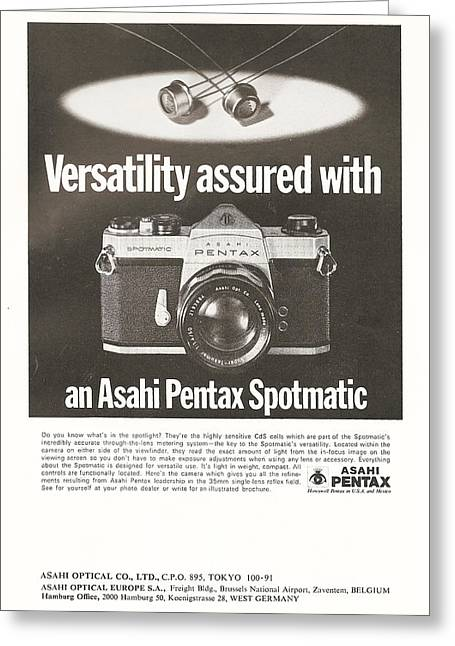 Tv Commercial Greeting Cards - Asahi Pentax Spotmatic Greeting Card by Nomad Art And  Design