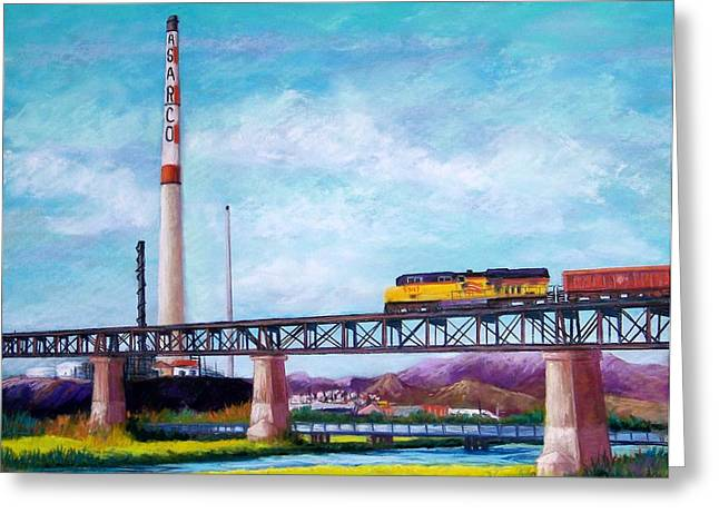 Pacific Pastels Greeting Cards - Asarco and the RR Bridge Greeting Card by Candy Mayer