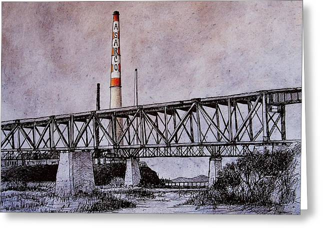 Smelter Greeting Cards - Asarco in Pen and Ink Greeting Card by Candy Mayer