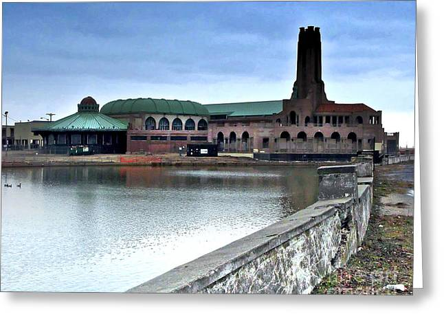 Asbury Park Carousel Greeting Cards - Asbury Park-New Jersey-in the Rain Greeting Card by Anne Ferguson