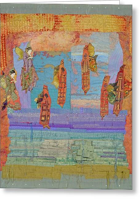 People Tapestries - Textiles Greeting Cards - Ascension of the Butterfly Women Greeting Card by Roberta Baker