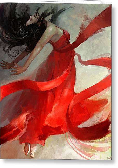 Red Dress Greeting Cards - Ascension Greeting Card by Steve Goad