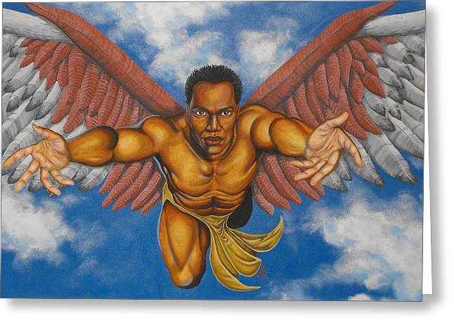 African Angel Greeting Cards - Ascension Greeting Card by William Roby