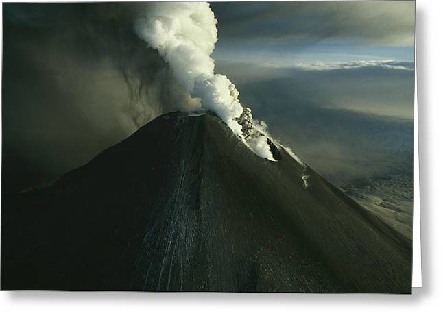 Volcanoes And Volcanic Action Greeting Cards - Ash And Steam Billowing From Karymsky Greeting Card by Klaus Nigge
