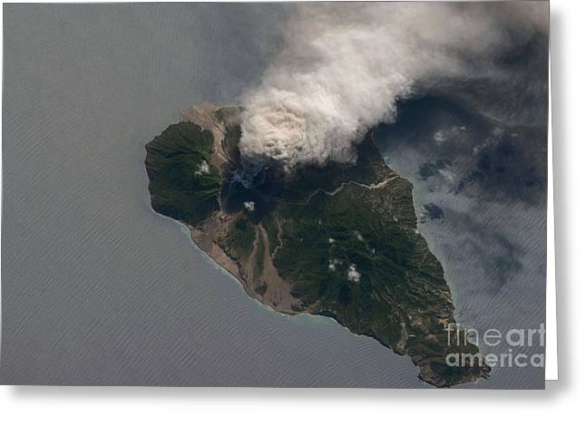 Aerial Photograph Greeting Cards - Ash And Steam Plume, Soufriere Hills Greeting Card by NASA/Science Source