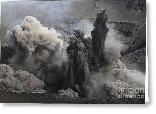 Emitting Greeting Cards - Ash Cloud Eruption On Yasur Volcano Greeting Card by Richard Roscoe