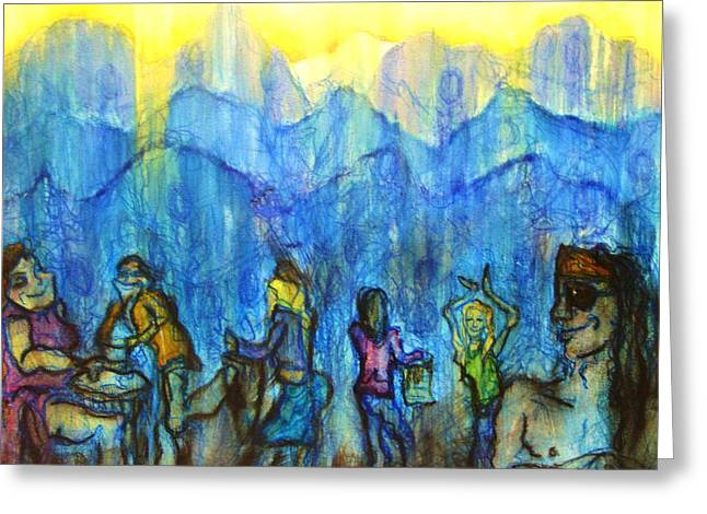 Asheville Mixed Media Greeting Cards - Asheville Drum Circle Greeting Card by Lizzie  Johnson