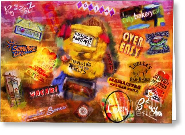 Asheville Mixed Media Greeting Cards - Asheville Eats Greeting Card by Marilyn Sholin