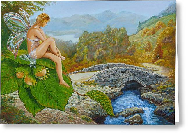 Celtic Paintings Greeting Cards - Ashness Faery Greeting Card by Tomas OMaoldomhnaigh