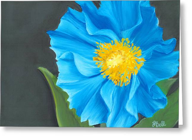 Blue Flowers Drawings Greeting Cards - Asian Blue Greeting Card by Laura Bell