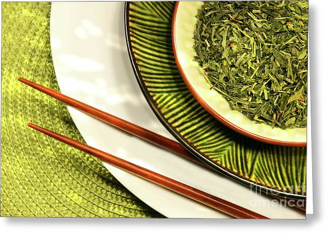 Zen-like Greeting Cards - Asian bowls filled with herbs Greeting Card by Sandra Cunningham
