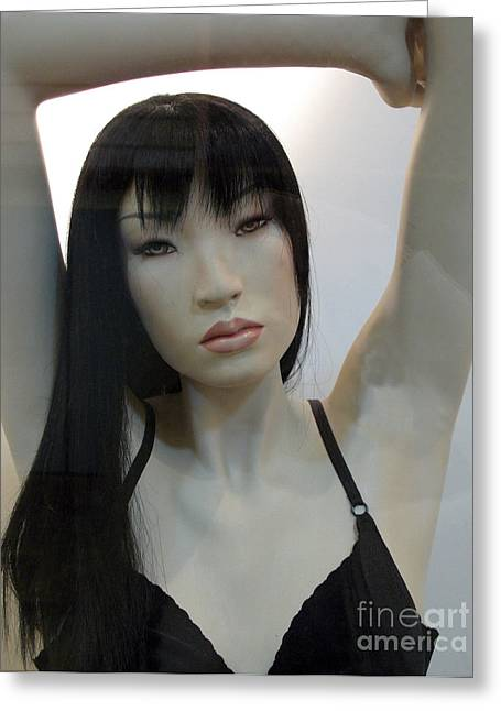 Asian Female Face Mannequin Greeting Card by Kathy Fornal