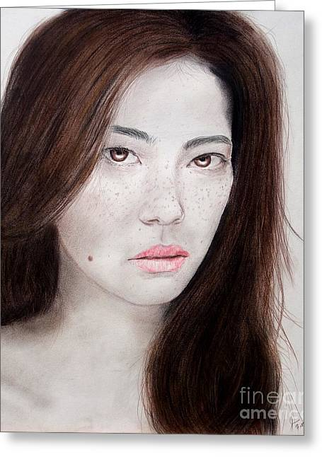 Facial Mole Mixed Media Greeting Cards - Asian Model with Freckles Greeting Card by Jim Fitzpatrick