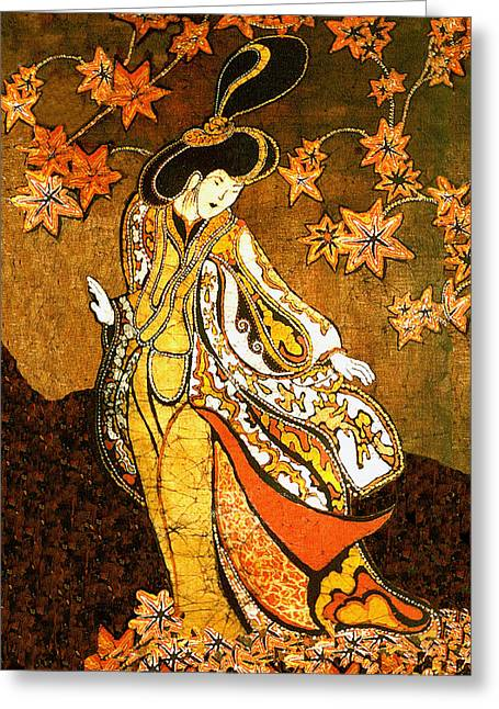 Traditional Tapestries - Textiles Greeting Cards - Asian Woman Greeting Card by Alexandra  Sanders