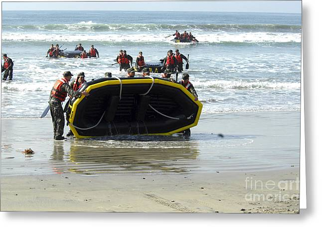 Inflatable Boats Greeting Cards - Asic Underwater Demolitionseal Students Greeting Card by Stocktrek Images
