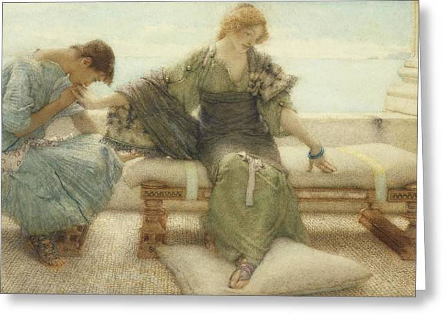 Ask Greeting Cards - Ask me no more....for at a touch I yield Greeting Card by Sir Lawrence Alma-Tadema