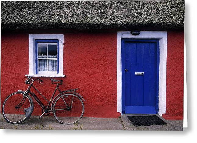 Entryway Greeting Cards - Askeaton, Co Limerick, Ireland, Bicycle Greeting Card by The Irish Image Collection