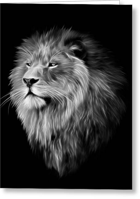 Lions Greeting Cards - Aslan Lion Portrait Greeting Card by Julie L Hoddinott
