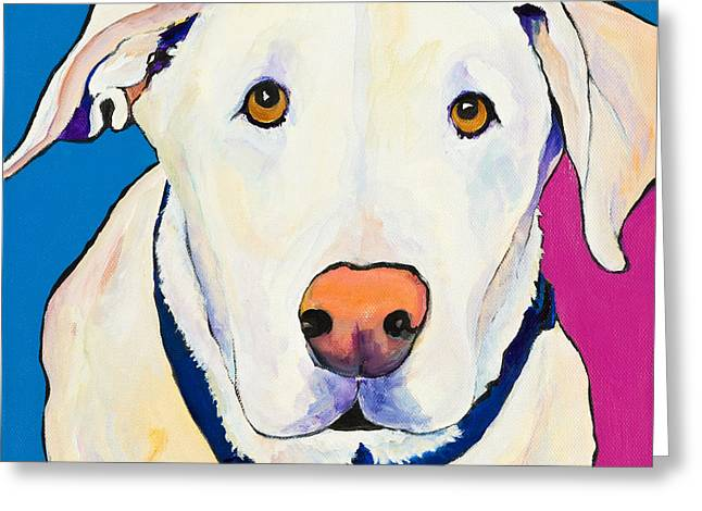White Lab Greeting Cards - Aslinn Greeting Card by Pat Saunders-White
