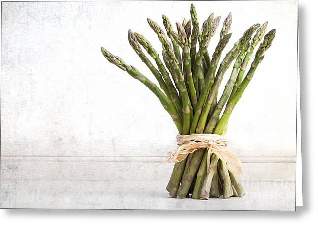 Vitamin Greeting Cards - Asparagus vintage Greeting Card by Jane Rix
