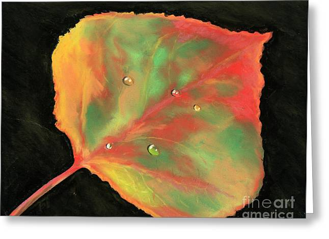 Drop Pastels Greeting Cards - Aspen Leaf in Fall Greeting Card by Ginny Neece