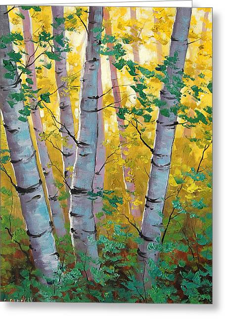 Autumn Landscape Paintings Greeting Cards - Aspen Light Greeting Card by Graham Gercken