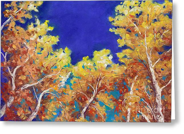 Yellow Leaves Pastels Greeting Cards - Aspen Sky Greeting Card by Grace Goodson