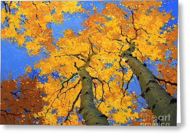 Rocky Mountain Posters Greeting Cards - Aspen Sky High  Greeting Card by Gary Kim
