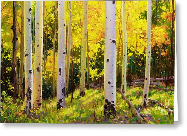 Original Oil Paintings Greeting Cards - Aspen Symphony Greeting Card by Gary Kim