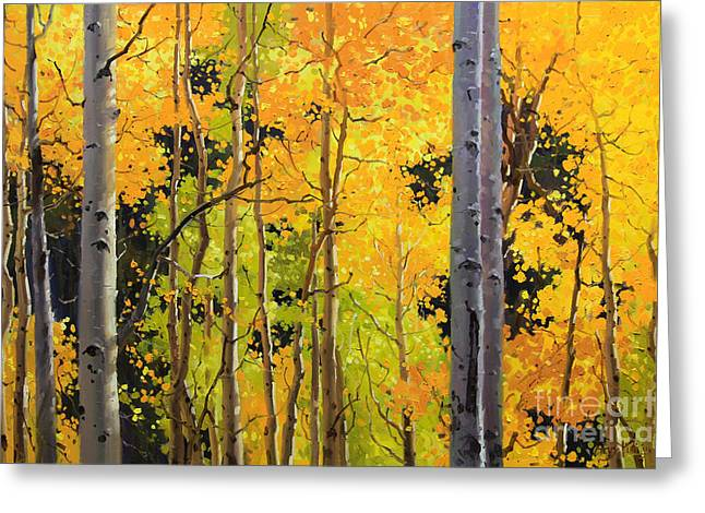 Blue Sky Canvas Greeting Cards - Aspen Trees Greeting Card by Gary Kim