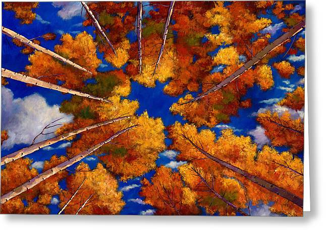 Autumn Landscape Paintings Greeting Cards - Aspen Vortex Greeting Card by Johnathan Harris