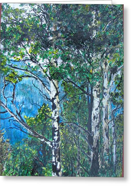 Prisma Colored Pencil Greeting Cards - Aspens Greeting Card by Kenny King