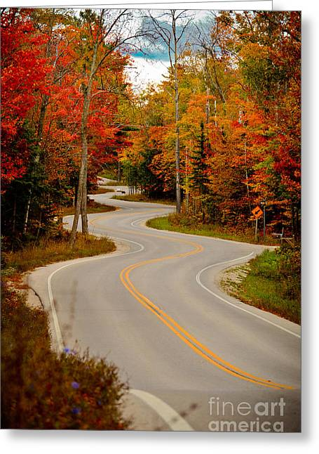 Gills Rock Greeting Cards - Asphalt Creek in Door County Greeting Card by Shutter Happens Photography