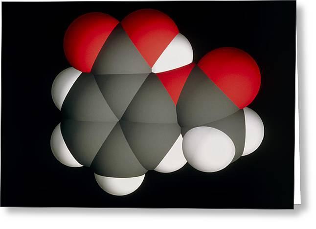 Drug Molecule Greeting Cards - Aspirin Molecule Greeting Card by Laguna Design
