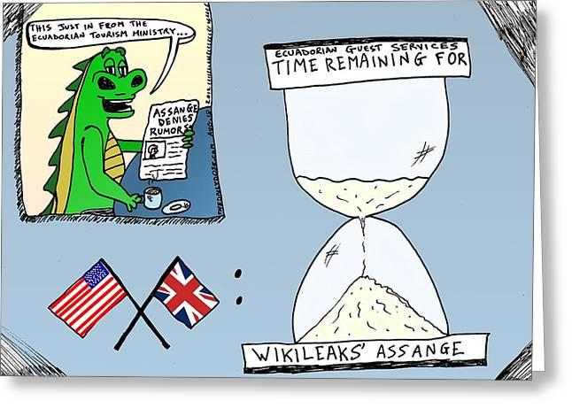 Editorial Drawings Greeting Cards - Assange Ecuador Embassy cartoon Greeting Card by Yasha Harari