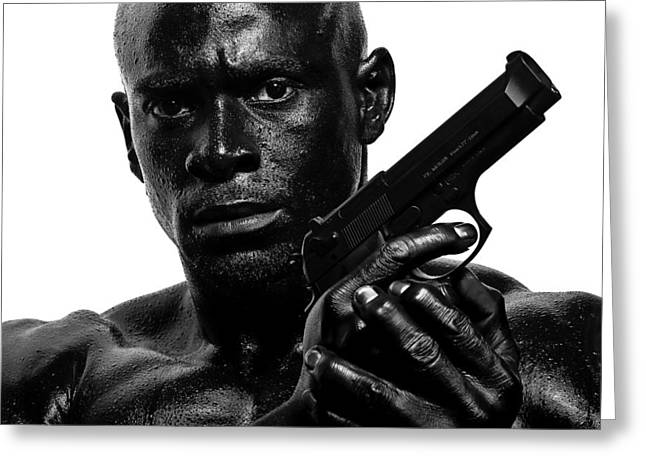 Black Russian Greeting Cards - Assassin in Black and White Greeting Card by Val Black Russian Tourchin
