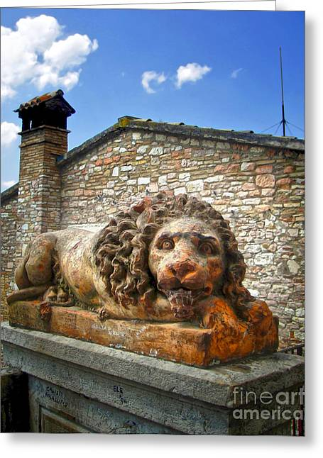 Assisi Italy - Lion Statue Greeting Card by Gregory Dyer