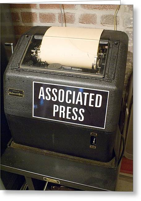 Front Page Greeting Cards - Associated Press Teletype Machine Greeting Card by Mark Williamson