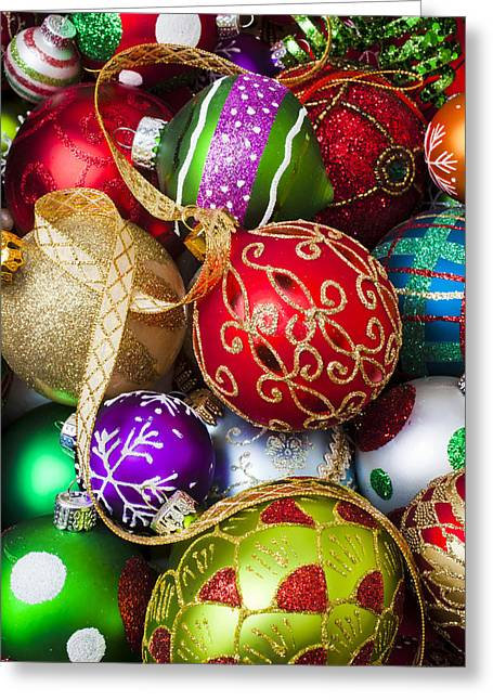 December 25th Greeting Cards - Assorted beautiful ornaments Greeting Card by Garry Gay